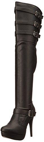 Pleaser Pink Label CHLOE-308 Damen Overknee Stiefel, Lederimitat Schwarz, EU 40 (US 10)
