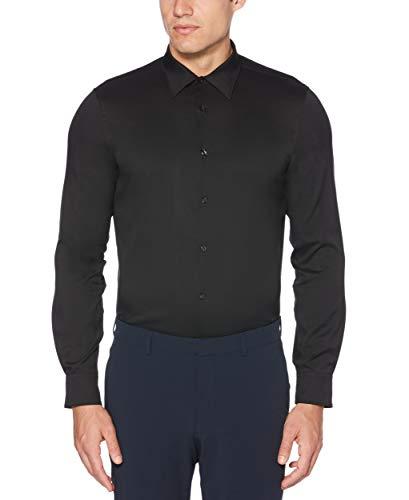 Perry Ellis Men's Slim Fit Solid Stretch Dress Shirt, black, Large