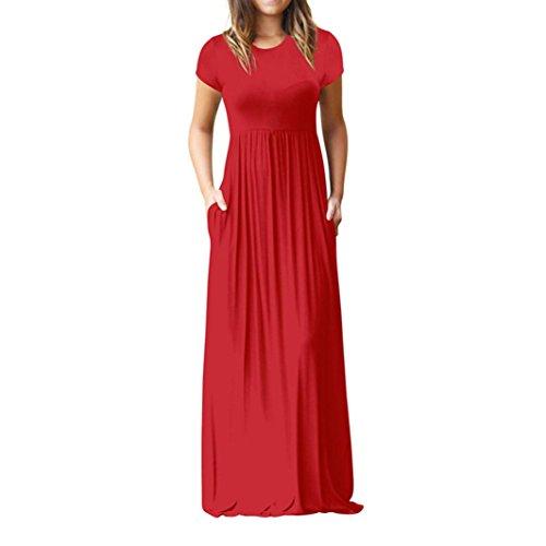 Hevoiok Damen Partykleid Sommer Frühling Kleid Sexy Solide Locker Bodenlänge Abendkleid Frauen Kurzarm Beiläufige Rundhals Maxikleid (Rot, L)