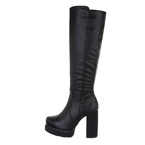 Ital-Design Damenschuhe Stiefel High Heel Stiefel, 0-351-, Kunstleder, Schwarz, Gr. 38