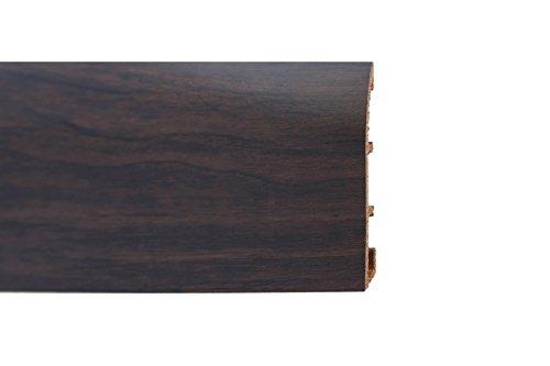 Battiscopa Trafil N5 Passacavo Multisystem in PVC effetto legno, Wengé, 5 barre da 2 mt