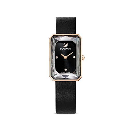 Swarovski Uptown Uhr, Damenuhr mit Rosé Vergoldetem Gehäuse, Schwarzem Zifferblatt, Swarovski Kristallen und Schwarzem Lederarmband