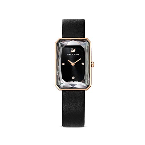 Swarovski Women's Uptown Analogue Watch, Black Watch Face, Black Leather Strap, 19cm, with Elegant Swarovski Crystals and Rose-Gold Tone Plated Metal