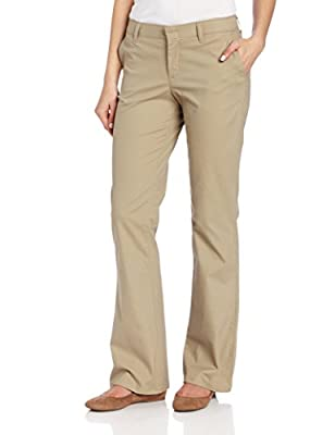 Dickies Women's Flat Front Stretch Twill Pant Slim Fit Bootcut, Desert Sand, 12 Regular