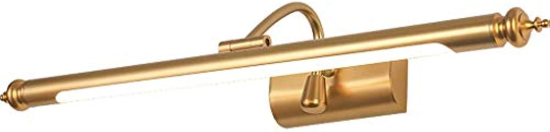 BAIJJ Badezimmerspiegelleuchten American Mirror Scheinwerfer LED Badezimmerschrank Lampe Dressing Lampe Nordic Lighting Einfache Punch-Free Warm Weiß Light (Gre  52cm 8W)