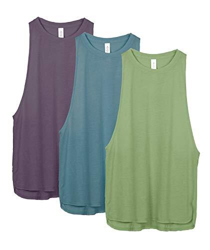 icyzone Damen Sport Tank Top Ringerrücken Yoga Fitness Shirt Loose Fit Sport Oberteile, 3er Pack (M, Sweet PEA/Lake Blue/Plum Purple)