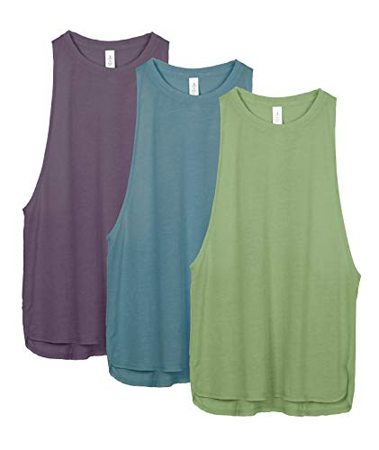 icyzone Sport Tank Top Damen Locker - Yoga Fitness Shirt Racerback Oberteile atmungsaktive (S, Sweet PEA/Lake Blue/Plum Purple)