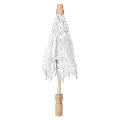 Fdit Bordado de Flores de Encaje de Boda Hecho a Mano, sombrilla de Boda para Novia, sombrilla de decoración para fotografía(S-Blanco)