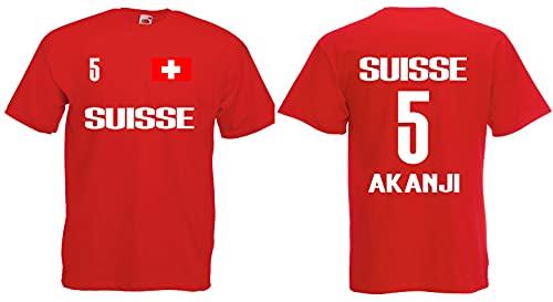 Schweiz-Suisse Akanji Herren T-Shirt EM 2020 Trikot Look Style Shirt Rot XXXL