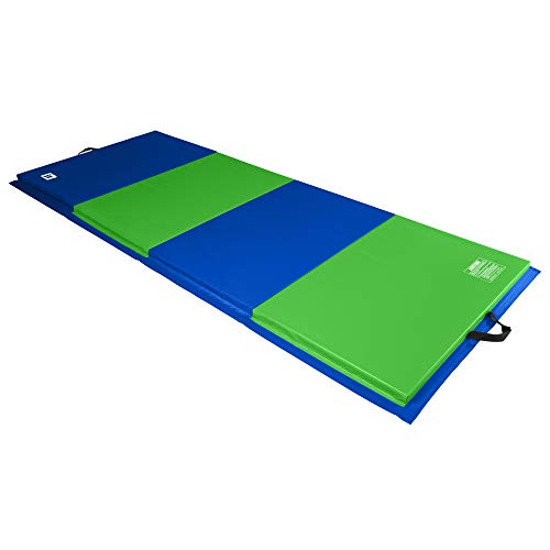 We Sell Mats 4 ft x 10 ft x 2 in Personal Fitness & Exercise Mat, Lightweight and Folds for Carrying, Lime Green/Blue