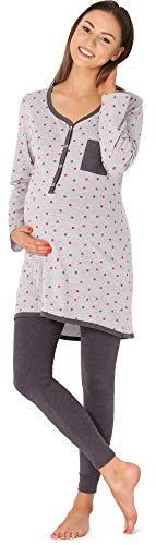 Bellivalini Premamá Pijama Conjunto Camiseta y Leggins Lactancia Maternidad Mujer BLV50-125 (Melange-Lunares-Grafito, M)