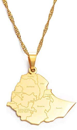 WYDSFWL Collar con Colgante de Ciudades de la Ciudad de Etiopía, Collares para Mujeres, Hombres, Color Dorado, Tarjetas etíopes, Regalo de joyería, 60 cm