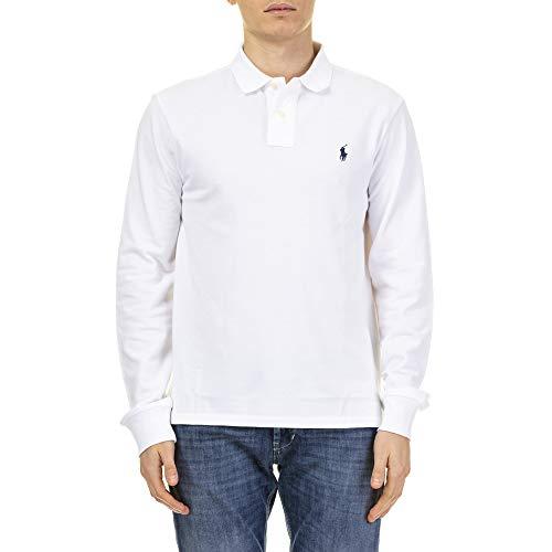 Polo Ralph Lauren LS Slim Fit Mesh Polo, Bianco (White A1000), L Uomo