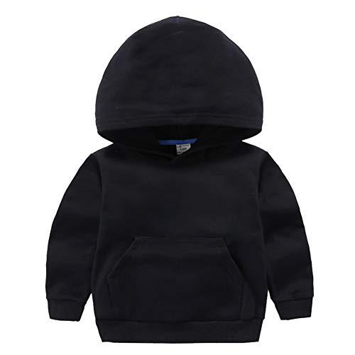 Lishui Jungen Mädchen Kapuzenpullover Hoodie Herbst Winter Langarm Sweatshirt Pullover 4-15 Jahre Schwarz 120 Höhengeeignet 110-115CM