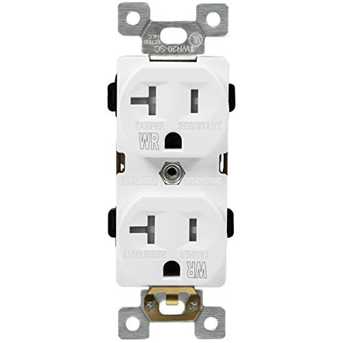 ENERLITES Duplex Receptacle, Tamper-Weather-Resistant, Commercial Grade Outlets, 20A 125V, Self-Grounding, 2-Pole, 3-Wire, 5-20R, UL Listed, 62040-TWR-W, White