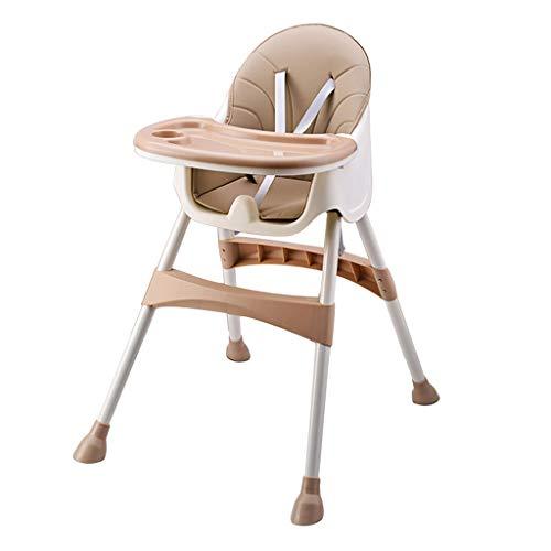 YShop Chaise Haute for bébé et Tout-Petits, Chaise Haute Pliable & Rehausseur avec Repose-Pieds et Hauteur du siège, Plateau Amovible, Coussin en Cuir PU ( Color : Pink )