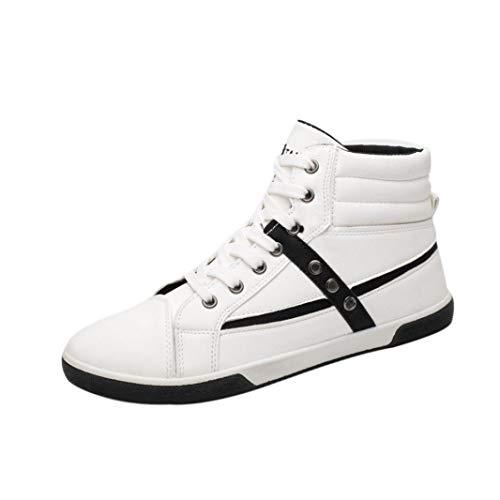 WWricotta LuckyGirls Zapatillas Casual Hombres Botas Altas Moda Remaches Clasicas Cómodas Calzado Andar Zapatos Planos Bambas con Cordones