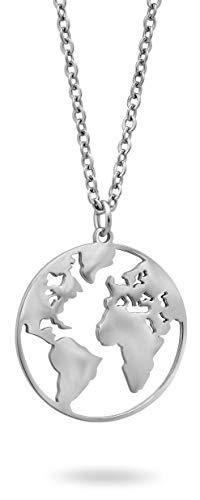Nuoli® Kette Welt Silber (45 cm) Weltkugel Halskette für Damen und Herren