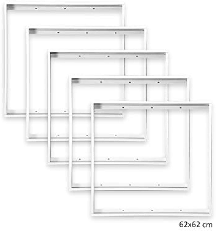 5x Xtend Aluminium Aufbaurahmen für LED Panel 620x620mm 62x62cm, Aluminium Farbe wei zur Aufputz-Montage