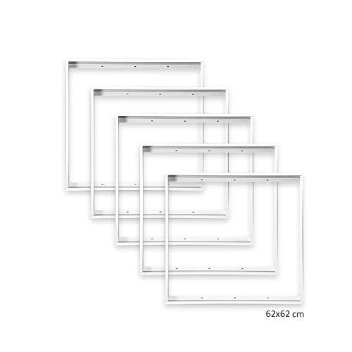 5x Aufbaurahmen für LED Panel 620x620mm 62x62cm, Aluminium Farbe weiß zur Aufputz-Montage Xtend
