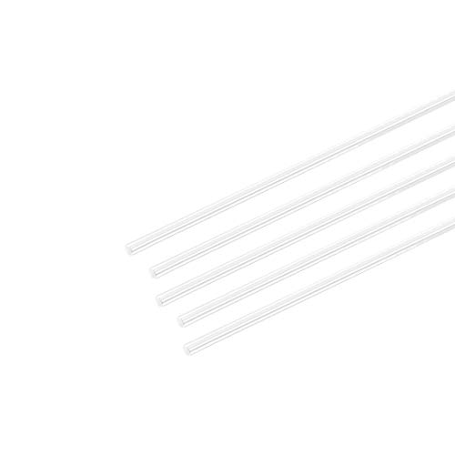 uxcell Acrylic Round Rod,2mm 5/64 inch Dia 10 inch Length,Transparent Clear Plastic Round Rod,Solid PMMA Bar 5pcs