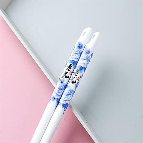 1PAIR 24cm Diseño de flores de cerámica de 24cm con agujeros antideslizantes Vajilla Palillos reutilizables 1033 (Color : N03 1pair qhhy)