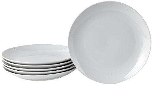 Deagourmet 187, Venere Set 6 Piatti Dessert in Cartone Bianco, Porcellana Bianca