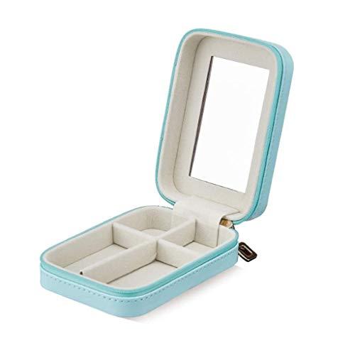 pojhf GYDSSH Caja de Almacenamiento pequeña Caja de joyería de imitación de Cuero del Organizador del Recorrido de visualización con Espejo Gran Regalo for Las Mujeres (Color : Blue)