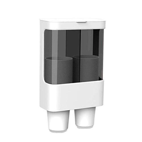 JYZ Dispensador de Vasos Desechables, dispensador de plástico para Paredes o Papel Tapiz, dispensador de portavasos desechable a Prueba de Polvo e Impermeable, con 2 Soportes Independientes