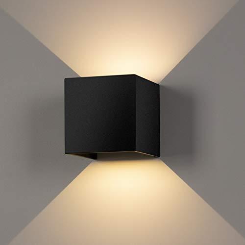ledmo 12W LED Wandleuchte Auf und ab Einstellbarer Lichtstrahl Außenwandlampen 2700-3000K Warmweiß Wandleuchten Innen IP65 wasserdichte(Schwarz)