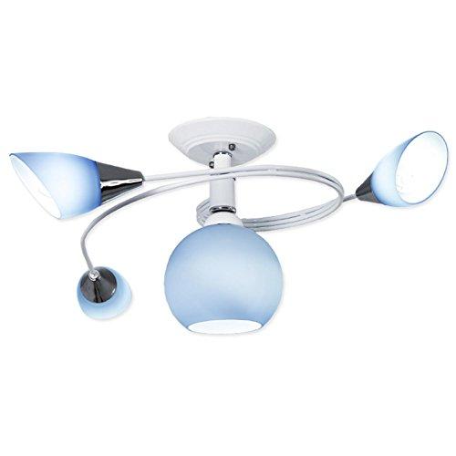 AMZH Sala de los niños Lámpara de Techo de Vidrio 4 Cabeza de Vidrio Azul...