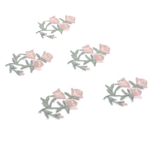 IMIKEYA 20 Piezas de Parches Bordados de Flores Parches de Costura de Dibujos Animados Apliques de Hierro para Ropa Jeans Chaqueta Gorras Bolsas