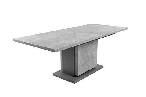 HOMEXPERTS Säulentisch mit Auszug BÄRBEL 160cm / Esszimmertisch grau / Ess-Tisch auf 210 cm ausziehbar / Melamin Light Atelier anthrazit Auszugstisch in Beton-Optik / 160-215 x 75 x 80 cm