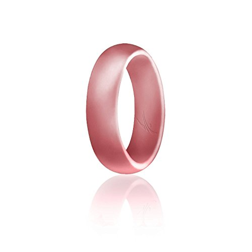 ROQ Silicone Wedding Ring for Women, Affordable Silicone Rubber Band, Metal Pink- Size 8