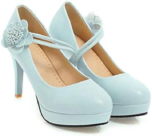 HBDLH Chaussures pour Femmes Fleurs De Printemps 9Cm Talons Hauts des Chaussures étanches Doux Et Léger Table Petite Bouche Tête Ronde.