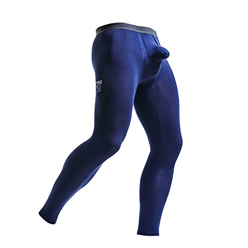 Zainafacai Men's Thermal Underwear Pants Lightweight Compression Pants Athletic Leggings Thermal Bottoms Separate Pouch Dark Blue