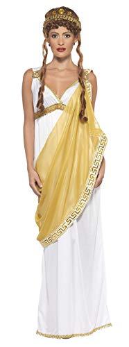 Smiffy's-23024L Miffy Disfraz de Helena de Troya y Dorado, Vestido y Tiara, Color Blanco y Oro, L-EU Tamaño 44-46 (23024L)