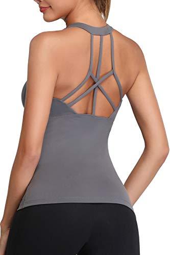 Oalka - Camisas de entrenamiento para mujer con espalda cruzada -  Negro -  Small