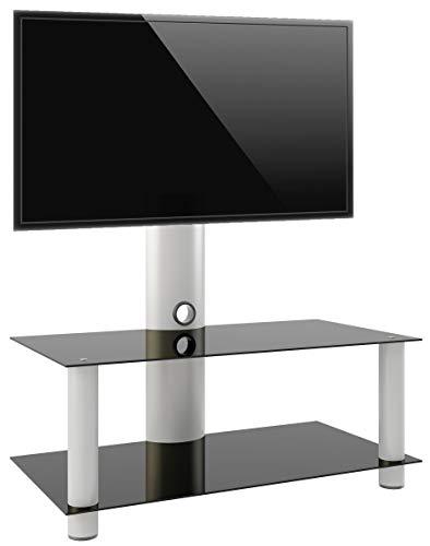 VCM TV Rack Lowboard Konsole Fernsehtisch Möbel Glastisch Tisch Mobil Rollen Schrank Bank aluminium / glas