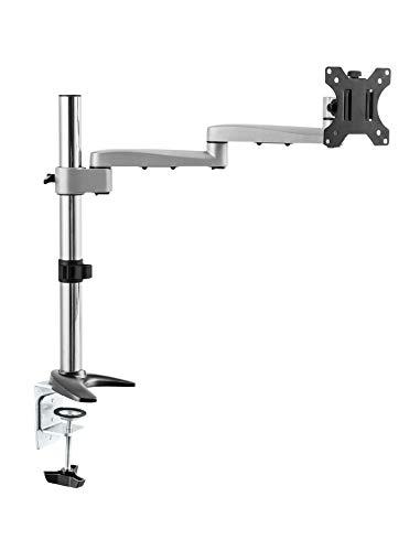 RICOO TS1711, Monitor-Halterung, Schwenkbar, Neigbar, 13-30 Zoll (33-76cm), Schreib-Tisch PC Bildschirm-Ständer, Stand-Fuß, VESA 100x100, Silber