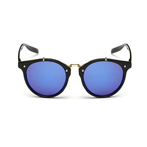 QHGstore Hombres Mujeres Nuevas gafas de sol al aire libre UV400 de conducción espejo Gafas Black/blue lens