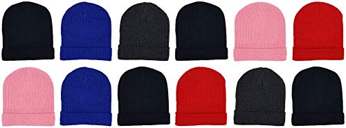 Kids Winter Beanies, 12 Pack Warm Cold Weather Hats Boys Girls Children (Assorted Ribbed)