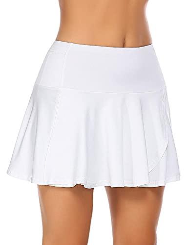 COOrun Damen Minirock Skirt mit Hose drunter Skort Sommerrock Mini Kurz Tennis Rock Wanderrock Weiß M