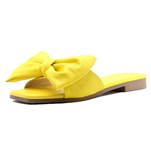 Xmiral Flache Hausschuhe Bowknot Damen Sandalen Strand Indoor & Outdoor Schuhe(37,Gelb)