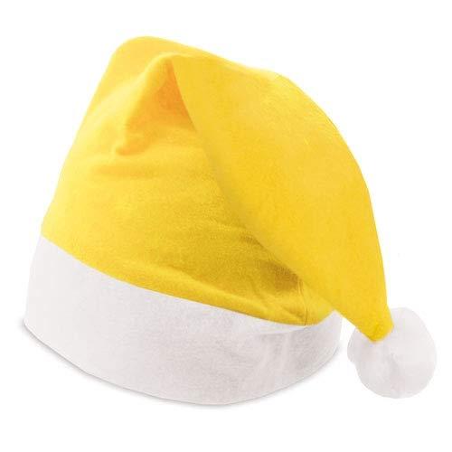 DISOK Lote de 100 Gorros de Papa Noel Amarillos - Gorros de Papa Noel de Colores Navidad Baratos