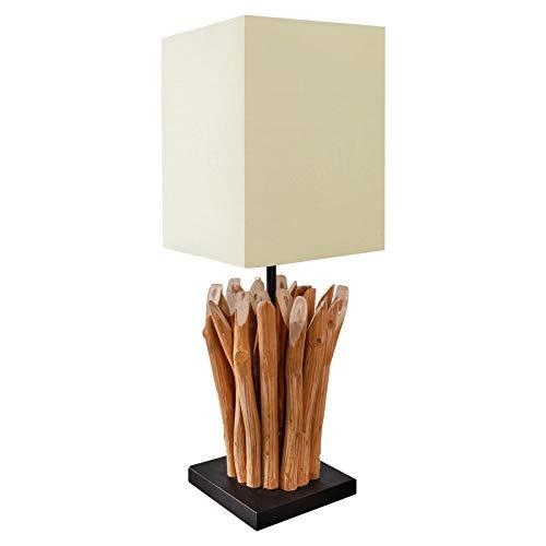 Design Treibholz Tischleuchte EUPHORIA natur mit weißem Schirm Handarbeit Tischlampe Treibholzlampe Lampe