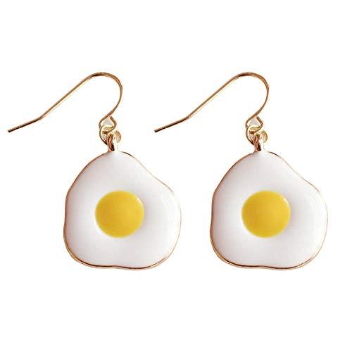 Pendientes de tortilla de huevo escalfado lindos japoneses pendientes sin clip de oreja perforada colgantes de temperamento largo personalidad all-match-eggs_ear hooks