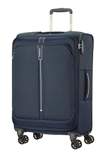 Samsonite Popsoda Luggage- Suitcase, Spinner M Expandable (66 cm - 73.5 L), Blue (Dark Blue)