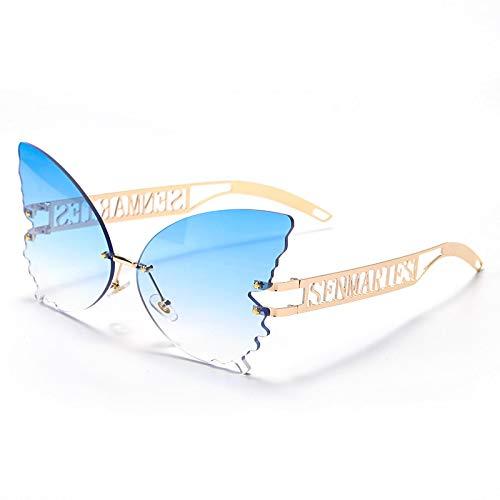 Astemdhj Gafas de Sol Sunglasses Mariposa Gafas De Sol Sin Montura Mujer Diseñador De Lujo Moda De Gran Tamaño Gafas De Sol Steampunk Gafas Vintage Uv400 2Anti-UV