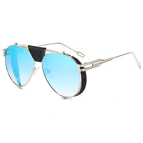 Moda Gafas De Sol De Piloto Steampunk Plegables Retro para Mujeres Y Hombres, Gafas De Sol Punk con Remaches De Cuero PU De Diseñador De Marca, Uv400, Azul Plateado